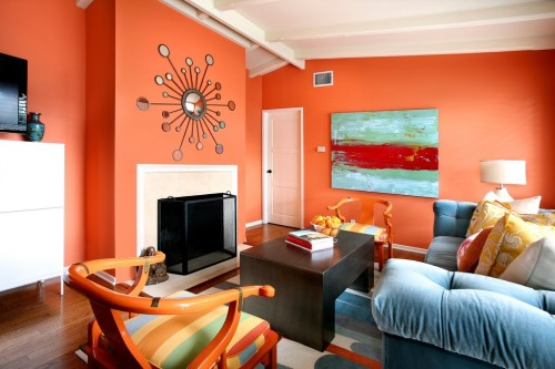 Por que no naranja gyg gabinete arquitectura blog - Blue and orange color scheme for living room ...