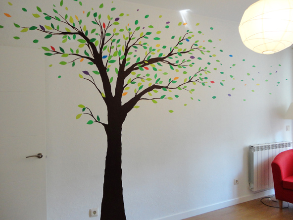 Decoracion arbol pintado en la pared for Papel pintado de arboles